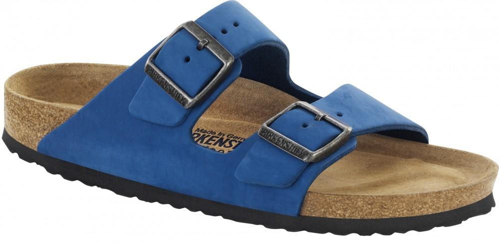 Birkenstock Arizona SFB Blå nubuck skinn smal myk | Birkenstock sandaler