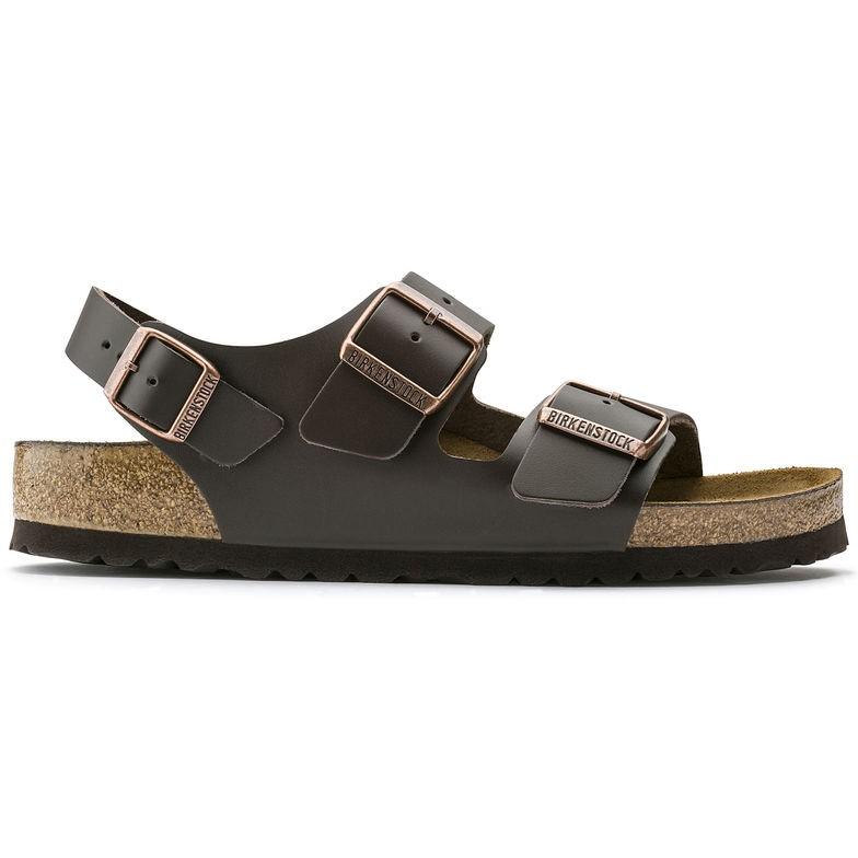 Birkenstock Milano Glatt skinn mørkebrun normal | Birkenstock sandaler