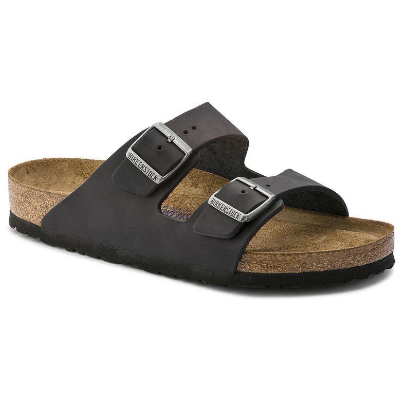 Birkenstock Arizona SFB Sort Oljet Skinn normal myk | Birkenstock sandaler