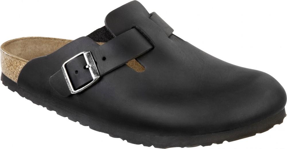 Birkenstock Boston Svart oljet skinn smal | Birkenstock sandaler
