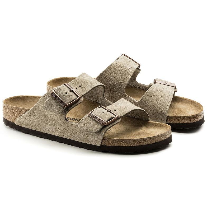 Birkenstock Arizona Taupe grå semsket skinn smal | Birkenstock sandaler
