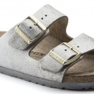 Birkenstock Arizona Washed Metallic Blue Silver skinn smal thumbnail