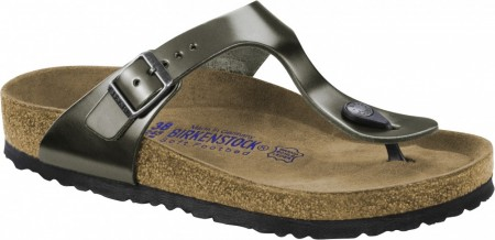 Birkenstock Gizeh SFB skinn, metallic anthrazite, myk normal