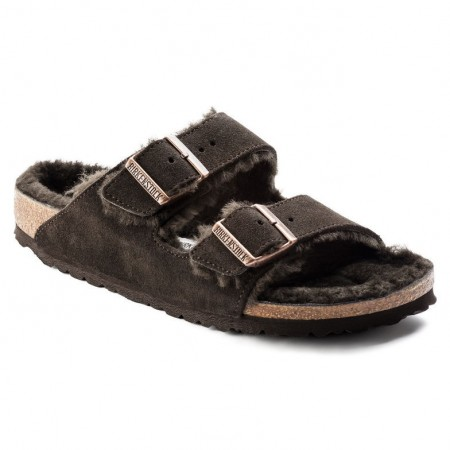 Birkenstock Arizona semsket lammeskinn - mocca normal