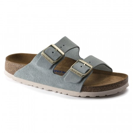 Birkenstock Arizona SFB Light blue semsket skinn smal myk