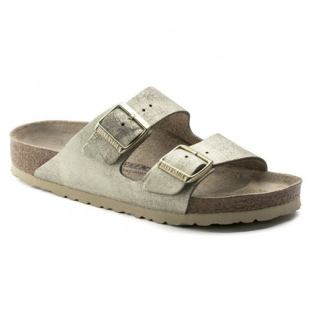 Birkenstock Arizona Washed Metallic Cream Gold skinn smal