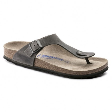 Birkenstock Gizeh SFB oljet skinn, Artic old iron, myk normal