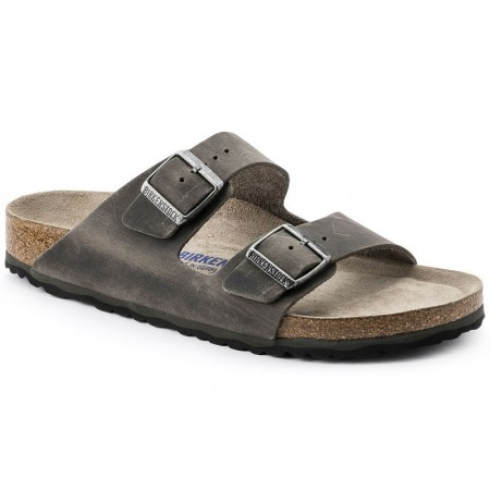 Birkenstock Arizona SFB Arctic Old Iron oljet skinn myk normal