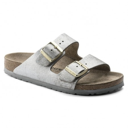 Birkenstock Arizona Washed Metallic Blue Silver skinn smal
