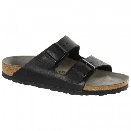 Birkenstock Arizona washed antikk svart skinn smal