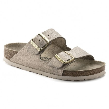 Birkenstock Arizona Washed Metallic Rose Gold skinn smal