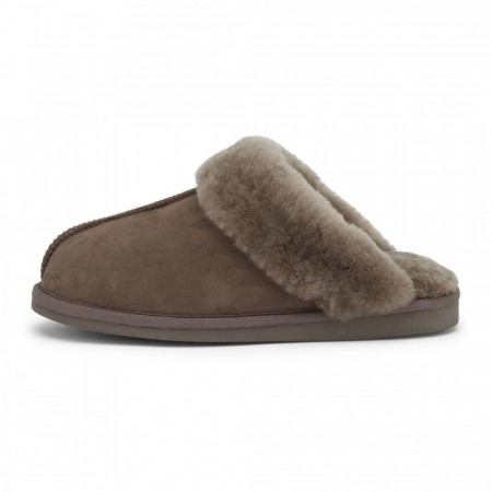 Woollies Slip on skinntøfler Brun
